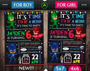 Pj Masks Invitation, Pj Masks Birthday, Pj Mask Invitation, Pj Masks Party, Pj Masks Invite, Pj Mask Birthday, Pj Masks Printable, DIY