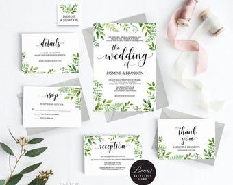 Rustic Wedding Invitation Template, Greenery Wedding Invitation Printable, Greenery Invitation, Cheap Invitation, PDF Instant Download #E032