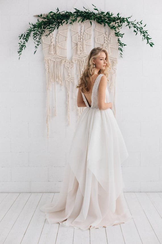 Nude Wedding Dress Ivory Wedding Gown Backless Wedding