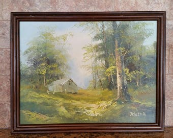 Vintage Oil on Canvas - Old House, Spring/Summer Foliage Landscape by Mozza