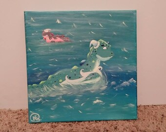 """Acrylic Painting, """"Sea Baby"""" - 10x10in Canvas (1)"""