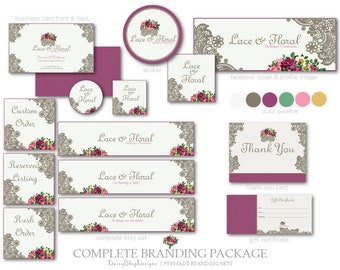 Branding Set,Etsy Set,Facebook Timeline Cover,Business Card Templates-Printables-Floral,Lace-Beige,Plum,Dark Gray-Etsy Marketing Package