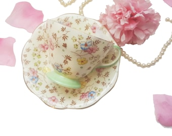 Hand Painted EB Foley Teacup, Shabby Chic Floral Tea Cup, Bone China, Made in England, Shabby Chic