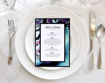 Floral Photo Wedding Menu Simple Romantic Party