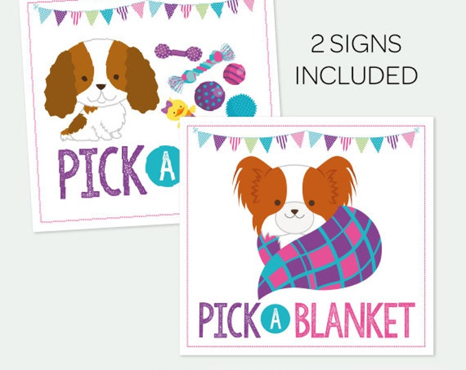 Pick a blanket + Pick a toy Sign, Pet Adoption Party, Puppy Adoption Birthday Party, Printable Sign, Instant Download