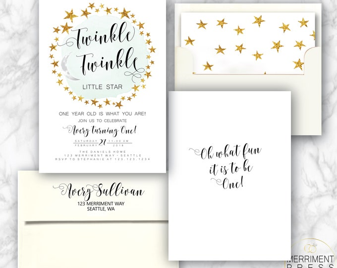 Modern Twinkle Twinkle First Birthday Invitation Boy Blue One Black and White and Gold Stars Minimalist Elegant SEATTLE COLLECTION