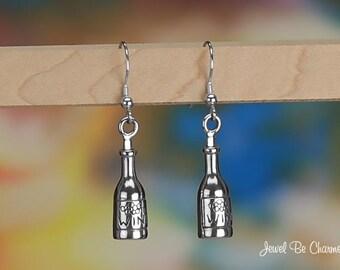 Sterling Silver Wine Bottle Earrings Fishhook Earwires Solid .925