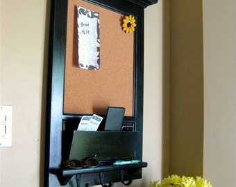 Wall Mail Organizer Furniture Wood Framed Cork Bulletin Board or Chalkboard with Mail Slot, Storage, Keyhook, Home Decor, coat hook, Shelf