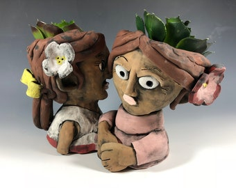 Gauguin's Tahitian Women Pothead // Seconds // Painting // Ceramic // Planter // Art Lover // Pothead // Small Sculpture // Ceramic