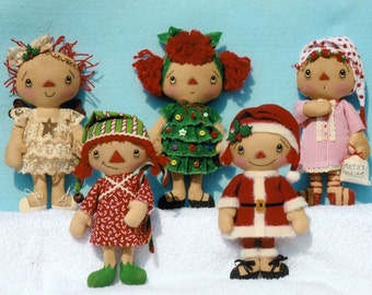 "Primitive Christmas Doll PATTERNS "" Christmas Gathering"" Ornies Raggedy Girls"