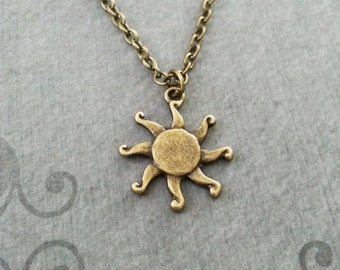 Sun Necklace Sun Charm Necklace Sun Jewelry Summer Necklace Summer Jewelry Bronze Necklace Celestial Necklace Celestial Jewelry Sun Pendant