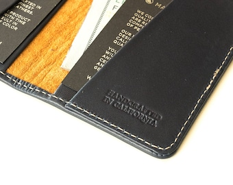 Navy blue leather wallet with monogram option, cardholder fits 12 cards for men and women handcrafted in Los Angeles.