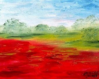 "Poppy art Original landscape oil painting Poppy painting Landscape painting Oil painting Poppy flower painting Poppies art Poppy décor 6x8"""