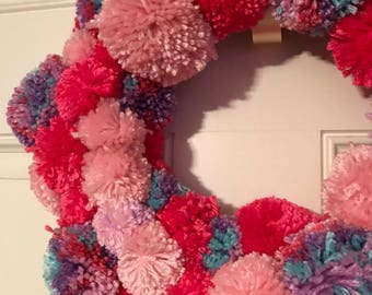 Pink and purple Pom Pom door Wreath