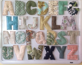 Magnetic Fabric Alphabet Letters, 26 magnetic letters, Fabric Letter Magnets, Names Magnets, Complete 26 letter set, ready to ship
