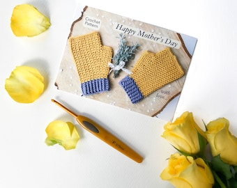 Happy Mother's Day Mitt Crochet Pattern Postcard for mom / Grandma / Grandmother