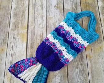 Mermaid Tail Tote Bag, Kids Mermaid Tail Bag, Mermaid Tail, Crocheted Bag