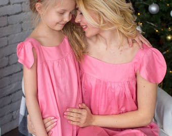 Matching Solid Nighties - Matching Mommy Baby Night Gowns - Matching Outfit, Mom and Me, Matching dresses, Mini Me, Shift dress, tunic dress
