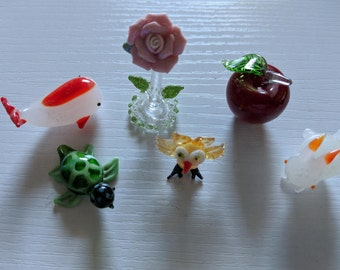 Random Set of Tiny Glass Figurines