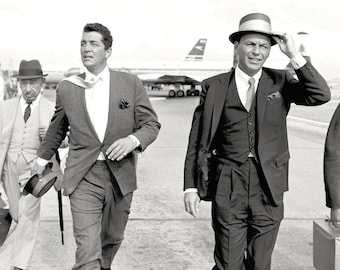 Dean Martin & Frank Sinatra on the London Airport Tarmac - 5X7, 8X10 or 11X14 Photo (AA-050)