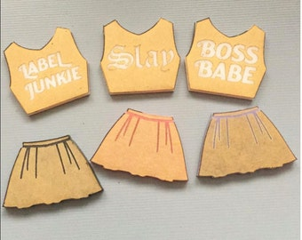 Skirt with Crop Top Set  engraved 2 pcs  Solid
