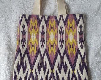 Handmade purple and yellow geometric Aztec patterned shopper bag