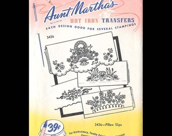 Aunt Martha's Pillow Slips - Embroidery Transfers 3436 - UNCUT - Hot Iron Sewing Transfer - DIY Needlecraft Motifs - Pillow Cases - Floral