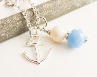 Blue anchor necklace, Ivory Swarovski pearl necklace, flower girl necklace, beach wedding jewelry, bridal jewelry