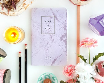 """2018 Planner — Like a Boss // Shimmering Purple and Marble Agenda (Soft Cover) —5"""" x 8"""""""