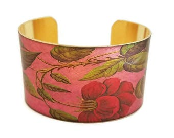 Pink Red Rose adjustable cuff bracelet Vintage style brass Gifts for her
