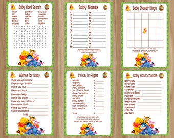 FLASH SALE!! All 6 Games! Winnie the Pooh Baby Shower Games, Winnie the Pooh Baby Shower, Pooh Baby Shower Game, Digital File