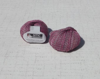 SMC Select Violena Colori Yarn, Pink Grey Tan Yarn, Destash Yarn