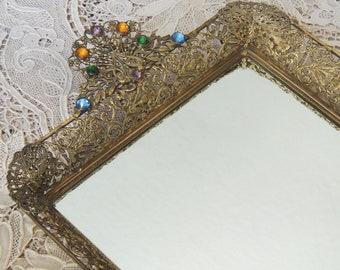 Jeweled Vanity Tray, Jeweled Dresser Tray, Vintage Jeweled Tray, Jeweled Mirrored Tray, Jeweled Perfume Tray, Vanity Decor, Bathroom Decor