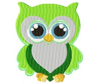 Embroidery Design green owl 4'x4' - DIGITAL DOWNLOAD PRODUCT