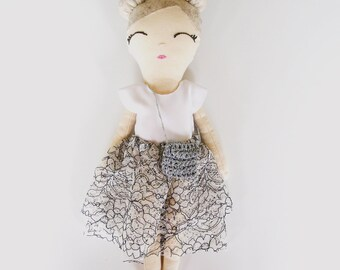 Maisie Cloth Doll in Monchrome Lace Skirt and Silver Crocheted Bag