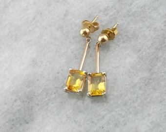 Mixed Metal Citrine Drop Earrings 15H7NH