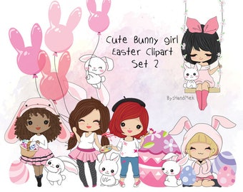 Cute Bunny girl ,Easter Clipart Set 2  Instant Download PNG file - 300 dpi