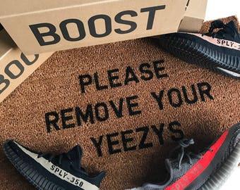 Please Remove Your Yeezys Doormat 70cm x 40cm Real Brown Coir Christmas