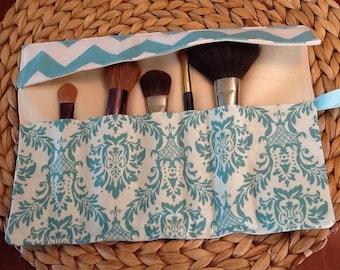 Makeup Brush Roll Up - Aqua Damask and Chevron - Travel Accessory Organizer - LAST ONE
