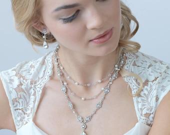 Pearl Jewelry Set, Crystal Jewelry Set, Layered Jewelry Set, Bridal Jewelry Set, Wedding Jewelry Set, Pearl Jewelry, Bridal Jewelry ~JS-1657