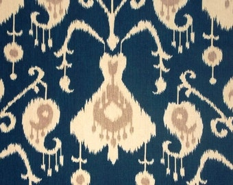 Java Navy cotton fabric by the yard ikat Magnolia Home Fashions