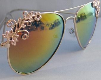 Rose Gold Gypsy Flower,Sunglasses,Glasses,Aviator,Aviator Sunglasses,Rose Gold,Rose Gold Jewelry,Rose Gold Glasses,Shades,Rose Gold Aviator