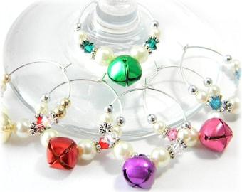 Christmas Wine Charms, Holiday Wine Charms, Wine Glass Charms, Crystal Wine Charms Hostess Gift set of 6