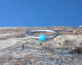 Turquoise Ring, Sterling Silver Tiny Stacking Ring