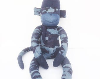 Miller the Sock Monkey - blue camouflage - *READY TO SHIP*