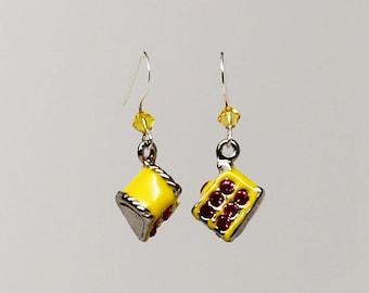 3D yellow cake slice earrings