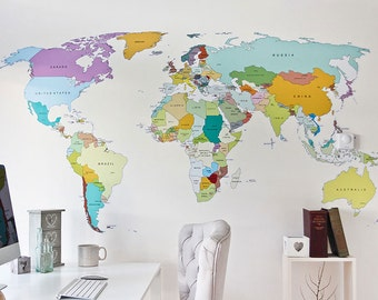 World map etsy printed world map self adhesive high detail quality wall decal gumiabroncs Gallery