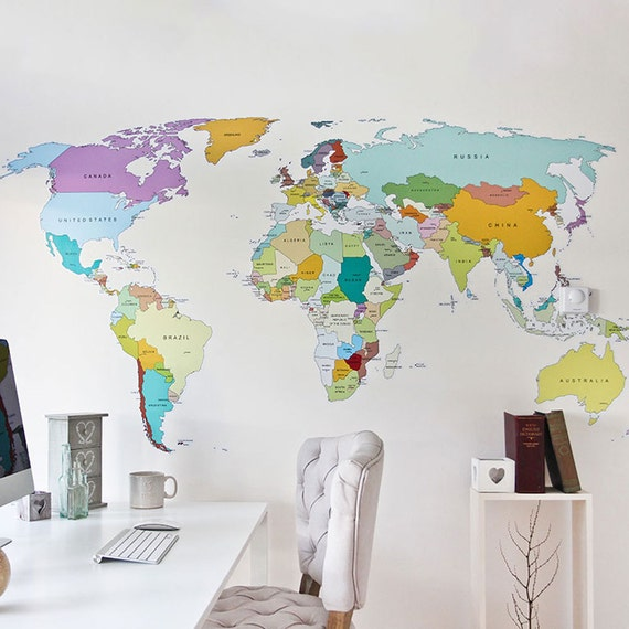 Printed world map self adhesive high detail quality wall decal gumiabroncs Image collections