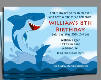 Shark Invitation Printable or Printed with FREE SHIPPING- Boy's Pool Party, Swim Party, Waterslide, Under the Sea - Shark Party Collection