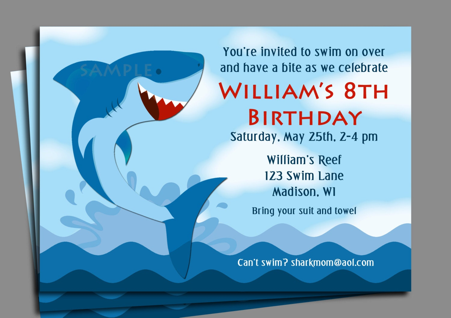 Shark Invitation Printable or Printed with FREE SHIPPING